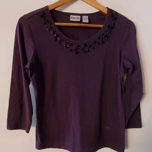 Chicos Purple Long Sleeve Blouse - 0